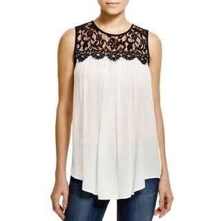 Karen Kane Womens Tank Top Rayon Yoke Lace Trim