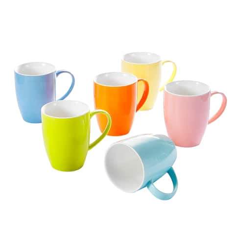 5-In Assorted Colors Porcelain Mugs Set Service for 6