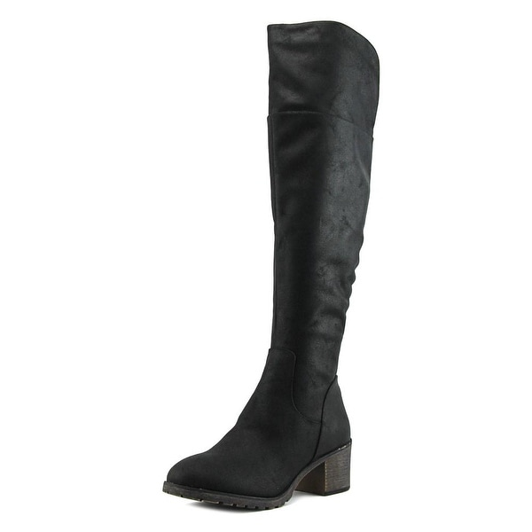 Sugar Isolde Women Round Toe Canvas Black Over the Knee Boot