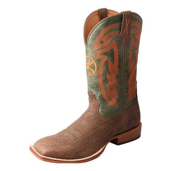 HOOey Western Boots Mens Wide Square Stitching Crazy Horse