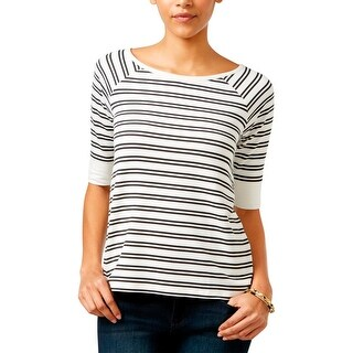 Sanctuary Womens Casual Top Striped Elbow Sleeves