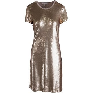 MICHAEL Michael Kors Womens Sequined Short Sleeves Party Dress