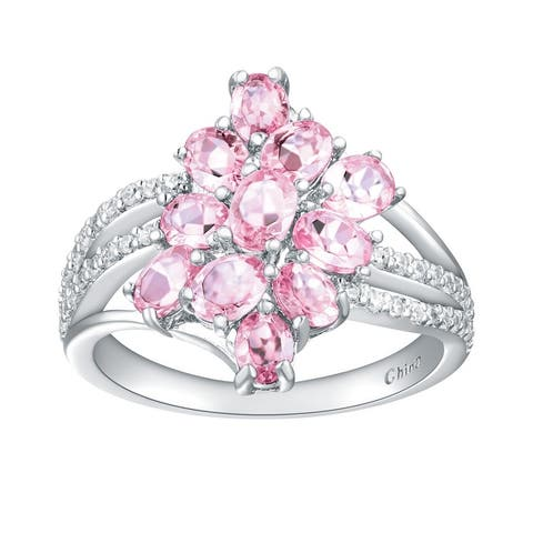 2.10 cttw Oval-Cut Pink Tourmaline Cluster Style Ring, Sterling Silver