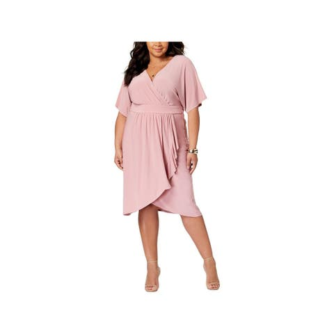 LOVE SQUARED Pink Short Sleeve Knee Length Faux Wrap Dress Size 2X