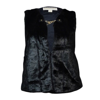 MICHAEL Michael Kors Women's Faux Fur Toggle Vest (XL, Black) - xL