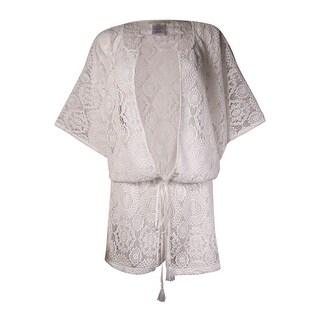 MICHAEL Michael Kors Women's Dolman Crochet Kimono Swim Cover (M/L, White) - M/L