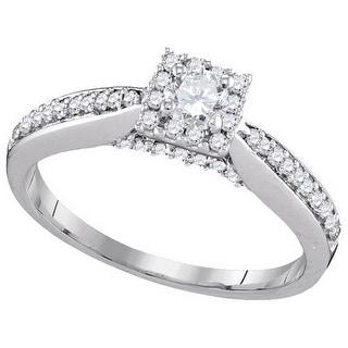1/2Ctw Diamond 1/5Ctw Center Round Bridal Engagement Ring 10K White-Gold
