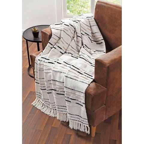 Tahari Home Kim Neutral Stripe Fringe Cotton Throw