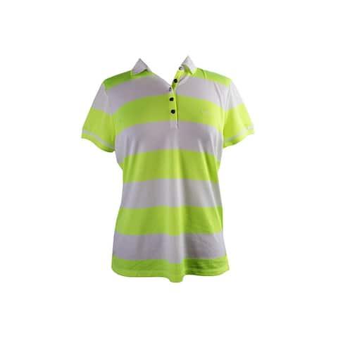 Lauren Ralph Lauren Citrus Yellow Short-Sleeve Striped Polo Shirt L