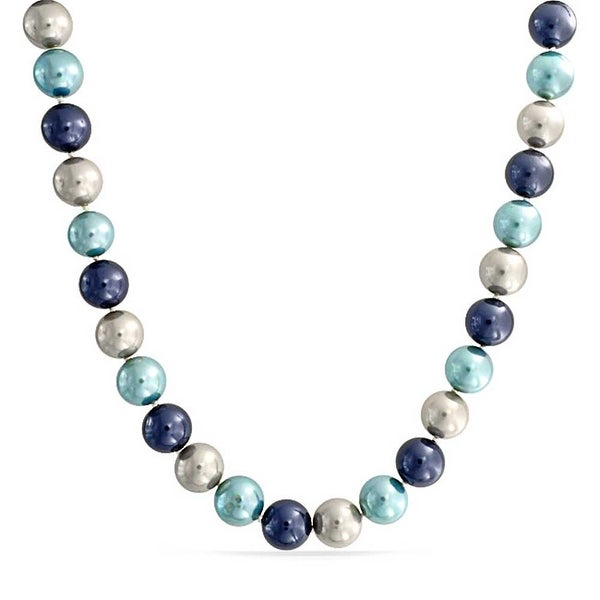 51f9ad9fd2f Large Round Multi Color Blue Tone Grey Shell Imitation Pearl 14mm Strand  Necklace For Women Silver