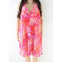 Vince Camuto Pink Women's Size 2 Floral Pleated V-Neck Shift Dress