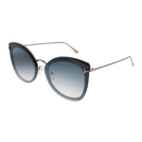 Tom Ford Charlotte TF 657 01C Womens Black Frame Grey Mirror Gradient Lens Sunglasses
