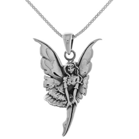 """Fairy Ballerina Dancer Sterling Silver Pendant Necklace 18"""" by Amy Brown"""