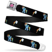 My Little Pony Logo Full Color Black Pink Rainbow Dash Lightning Bolt Black Seatbelt Belt Standard