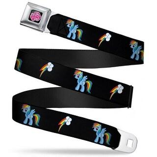 My Little Pony Logo Full Color Black Pink Rainbow Dash Lightning Bolt Black Seatbelt Belt