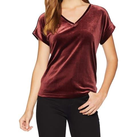 Sanctuary Red Women's Size Large L Velvet Knit V-Neck Tee Shirt
