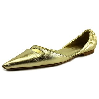 Roger Vivier Torpedo T.05 Women Pointed Toe Leather Gold Flats