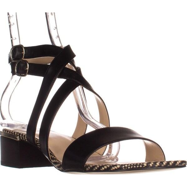 Nine West Yesta Ankle Strap Dress Sandals, Black Leather