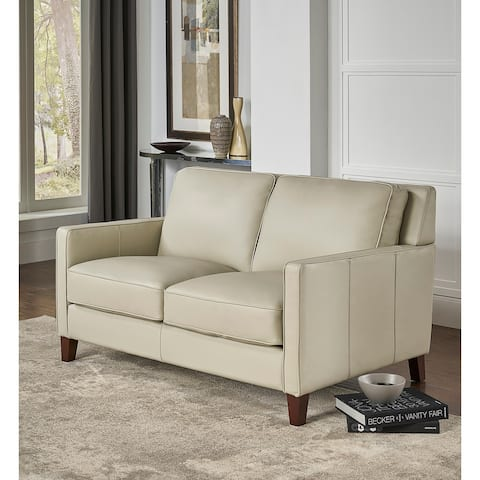 Hydeline Ashby Top Grain Leather Loveseat With Feather, Memory Foam and Springs