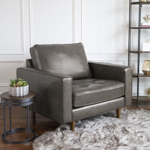 Abbyson Holloway Mid-century Modern Top-grain Leather Armchair. Opens flyout.