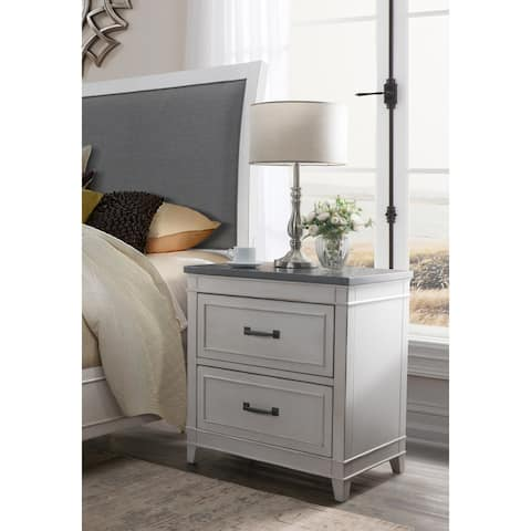The Gray Barn Happy Horse 2-drawer Nightstand with Personal Security Drawer, White with Grey Top