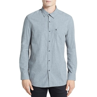 Kenneth Cole New York Trim Fit Shirt Flannel Grey Heather Combo XX-Large