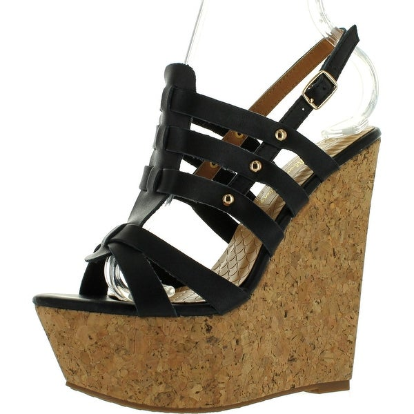 De Blossom Collection Plum-15 Women's Strappy Platform Wedge Sandals - Black