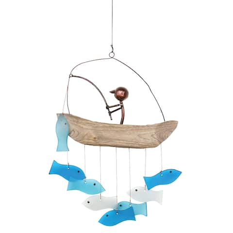 Gift Essentials Gone Fishing Wind Chime - Glass, Metal and Wood Indoor/Outdoor Hanging Ornament