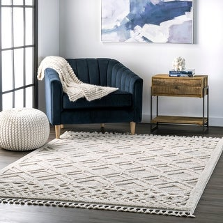 Link to nuLOOM Ansley Soft Lattice Textured Tassel Area Rug Similar Items in Farmhouse Rugs
