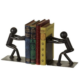 """7.12"""" Raven Black Rustic Finished Man Pushing Decorative Bookend Pair"""