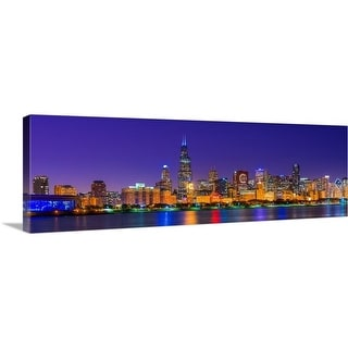 """""""Chicago skyline with Cubs World Series lights night, Lake Michigan, Chicago"""" Canvas Wall Art"""