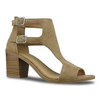 Soda Women's Open Toe Double Buckle Cutout Stacked Heel Sandal
