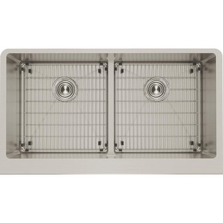 "Elkay CTXFA34179C  Crosstown 35-7/8"" Drop In Dual Basin Stainless Steel Kitchen Sink with Basin Racks and Basket Strainers"