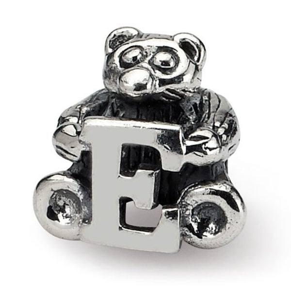 Sterling Silver Reflections Kids Letter E Bead (3.5mm Diameter Hole)