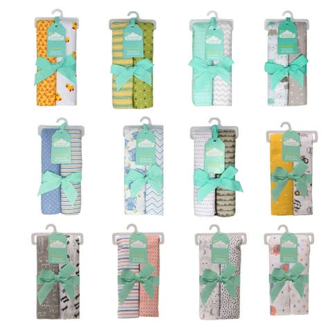 Cuddles & Cribs 2 Pack Cotton Flannel Receiving Blankets
