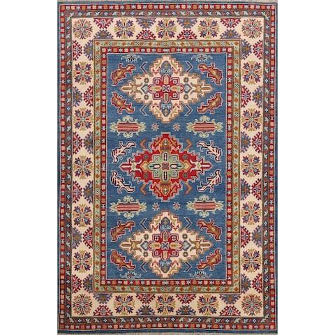 "Geometric Kazak Traditional Area Rug Wool Hand-knotted Oriental Carpet - 4'11"" x 6'10"""