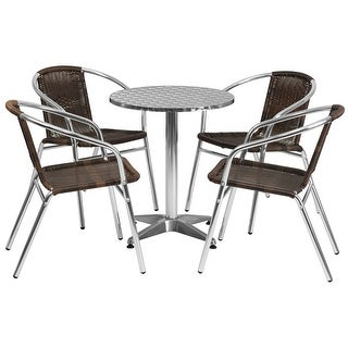 """Offex 23.5"""" Round Aluminum Indoor-Outdoor Table With 4 Rattan Chairs"""