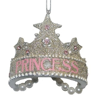Pink  and Silver Princess Crown Jeweled Christmas Holiday Ornament