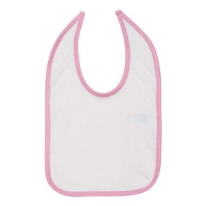 Rabbit Skins Infant Contrast Trim Premium Jersey Bib - White/ Pink - One Size