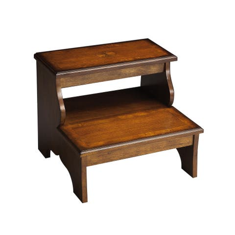 Traditional Wooden Step Stool in Olive Ash Burl Finish - Medium Brown