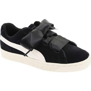 PUMA Girls' Suede Heart Jr. Sneaker Puma Black/Whisper White