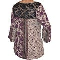 Funfash Plus Size Clothing Bohemian Brown Lace Bell Sleeves Top Shirt New Made in USA - Thumbnail 1