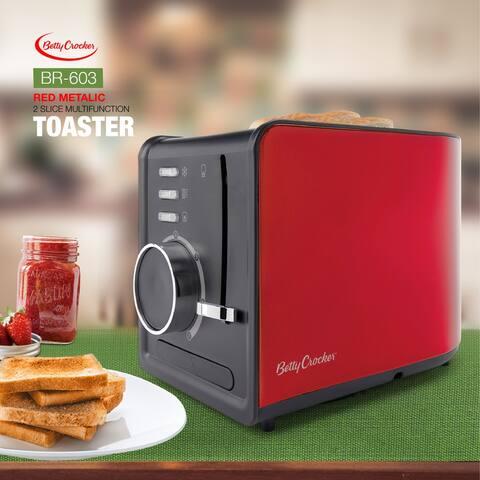 Red metallic 2 slice multifunction toaster