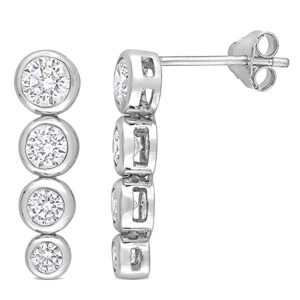 Miadora Cubic Zirconia Graduated Drop Earrings in Sterling Silver. Opens flyout.