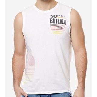Buffalo David Bitton NEW White Mens Size Small S Graphic Print Tank Top