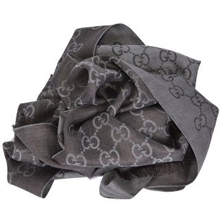 Gucci Women's 165904 Grey and Brown Wool Silk GG Guccissima Scarf Muffler - grey and brown