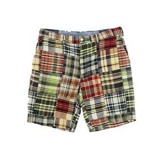 Polo Ralph Lauren NEW Yellow Mens 31 Classic-Fit Khakis Plaid Shorts