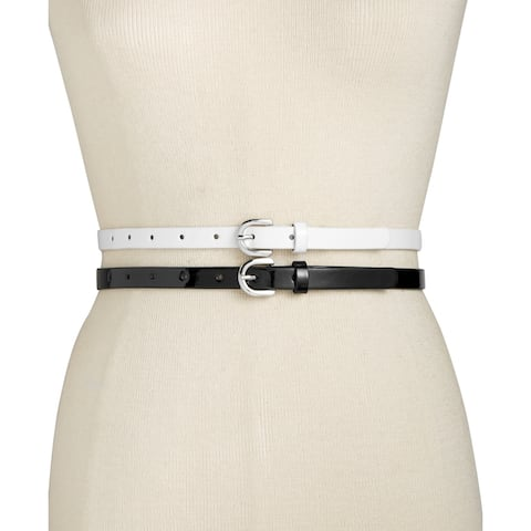 Style & Co Womens Patent Skinny Belts 2-for-1 XL Black/White