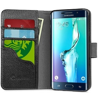 i-Blason Galaxy S6 Edge Plus Leather Wallet Case - Black