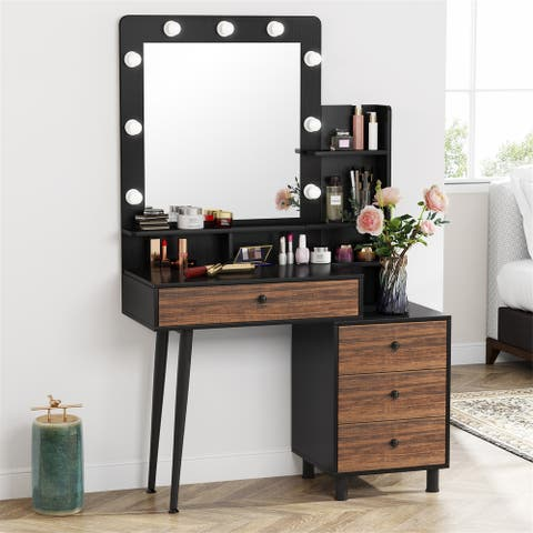 Vanity Dressing Make Up Table with Lighted Mirror And Drawers Shelf
